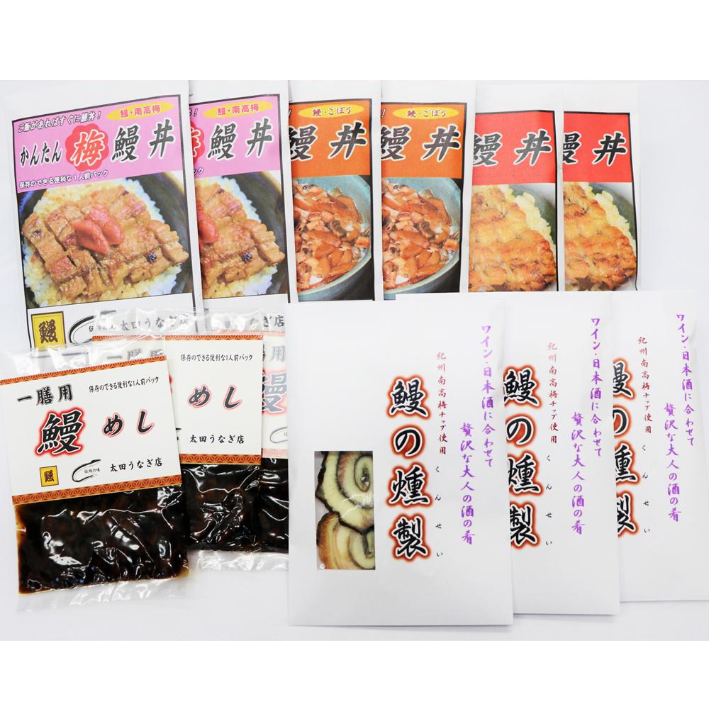 【ふるさと納税】4種の鰻丼9食・鰻の燻製3パックセット《うなぎ》