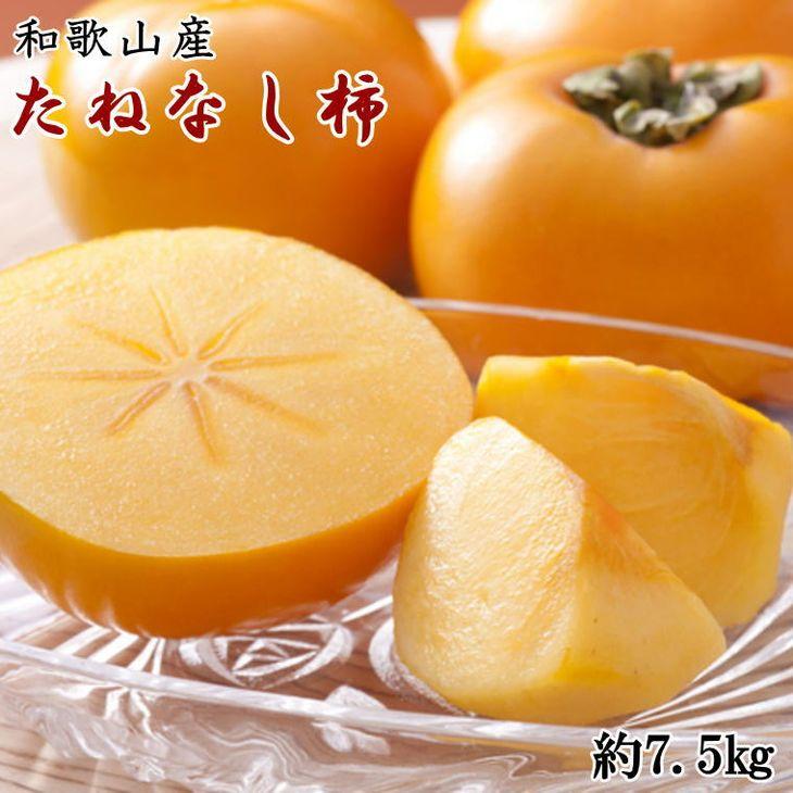 甘味と果汁たっぷりの和歌山を代表する人気の果実です。 【ふるさと納税】【秋の味覚】和歌山産のたねなし柿約7.5kg(M~2Lサイズおまかせ) ※2021年9月中旬頃~2021年11月上旬頃順次発送予定 ※着日指定不可