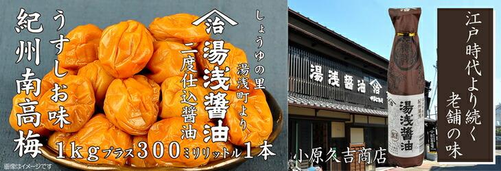 【ふるさと納税】■紀州南高梅うすしお味1キロと湯浅醤油300ミリ1本 ※お届け日指定不可
