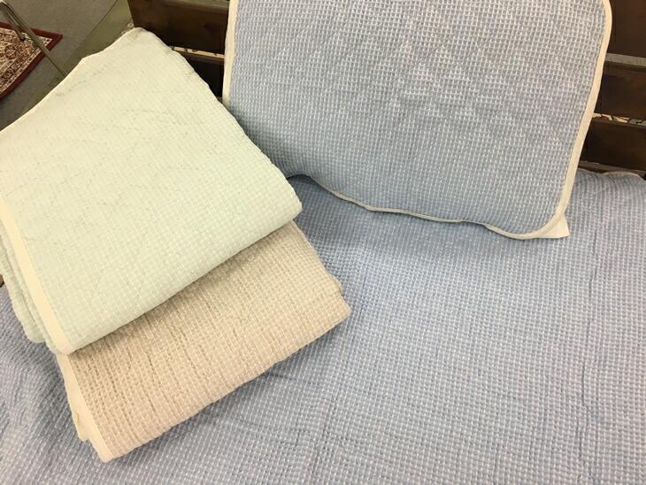 【ふるさと納税】綿100%ワッフル敷パッドと枕パッド シングル