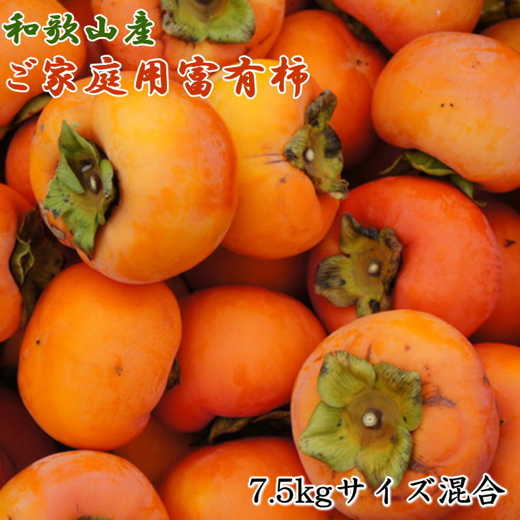 【ふるさと納税】和歌山産富有柿ご家庭用約7.5kgサイズ混合