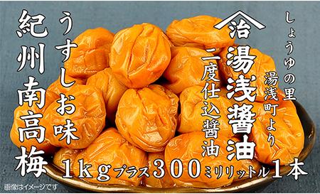 【ふるさと納税】紀州南高梅うすしお味1kgと湯浅醤油1本 美浜町