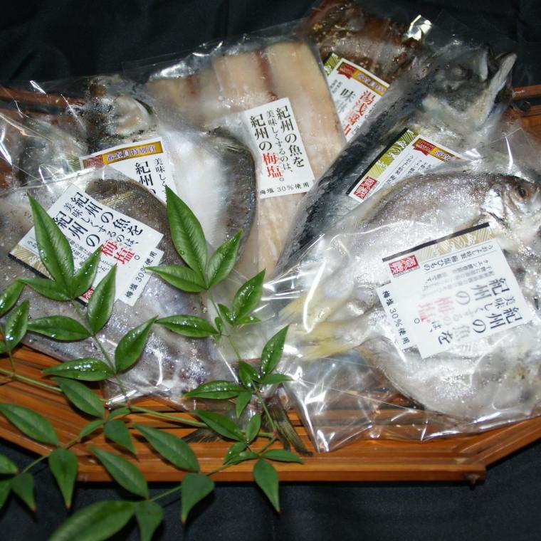 【ふるさと納税】和歌山の近海でとれた新鮮魚の梅塩干物と湯浅醤油みりん干し6品種10尾入りの詰め合わせ