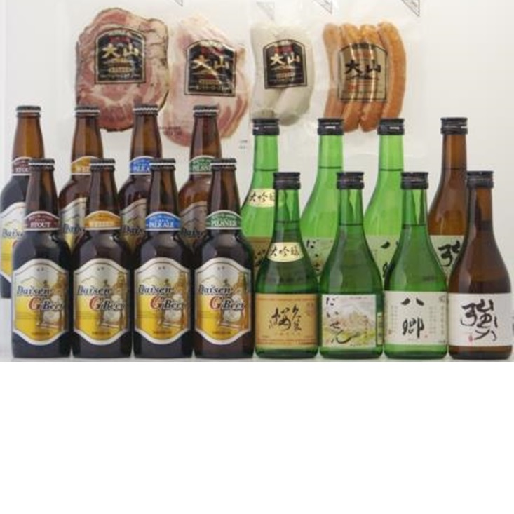 【ふるさと納税】 くめざくら地酒・地ビール・大山ハム詰め合わせ