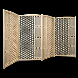 絶妙なバランスで組み合わせた 秀逸 ふるさと納税 超激安特価 726.空間を彩る組子屏風麻の葉 2連