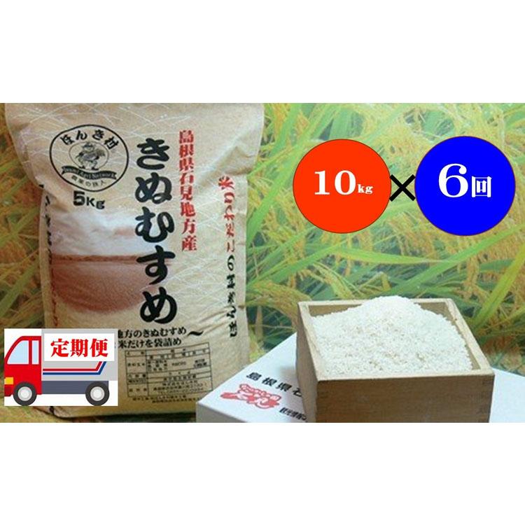 おいしさ自慢のお米 ふるさと納税 定期便 令和2年産 6ヶ月 10kg×6回コース 238.石見産きぬむすめ 60kg 定価 祝日