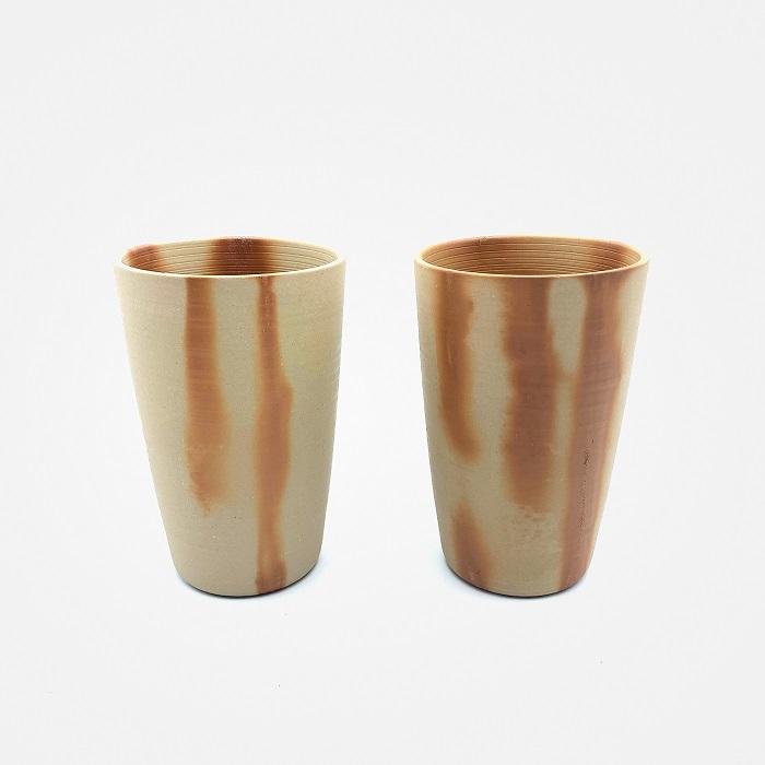 ふるさと納税 トレンド 0011-I-002 備前焼 セット ビアカップ 18%OFF フリーカップ