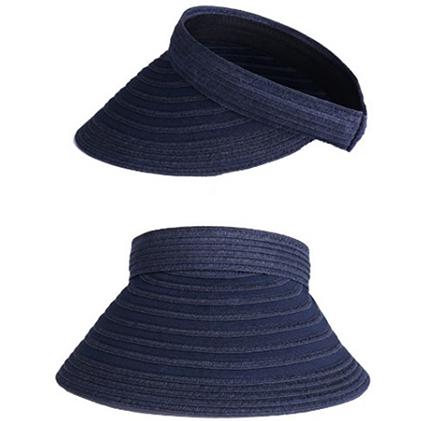 【ふるさと納税】天然 クリップバイザー 婦人 帽子  ネイビー 【ファッション・ファッション小物】