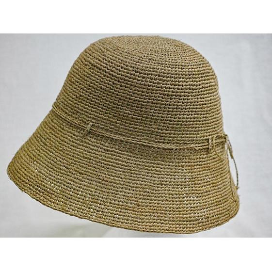 【ふるさと納税】天然ラフィア 手編みクロッシェ帽子 ベージュ 【ファッション・ファッション小物】