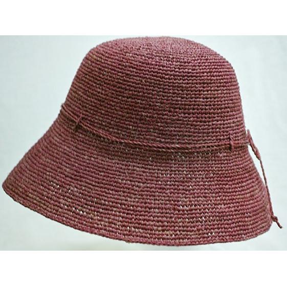 【ふるさと納税】天然ラフィア 手編みクロッシェ帽子 ワイン 【ファッション・ファッション小物】
