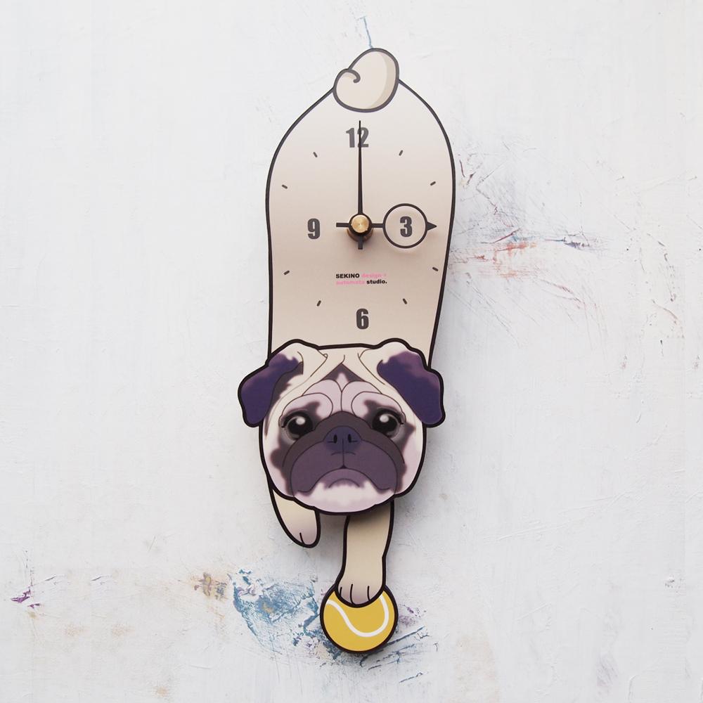 【ふるさと納税】D-97 パグ-犬の振り子時計