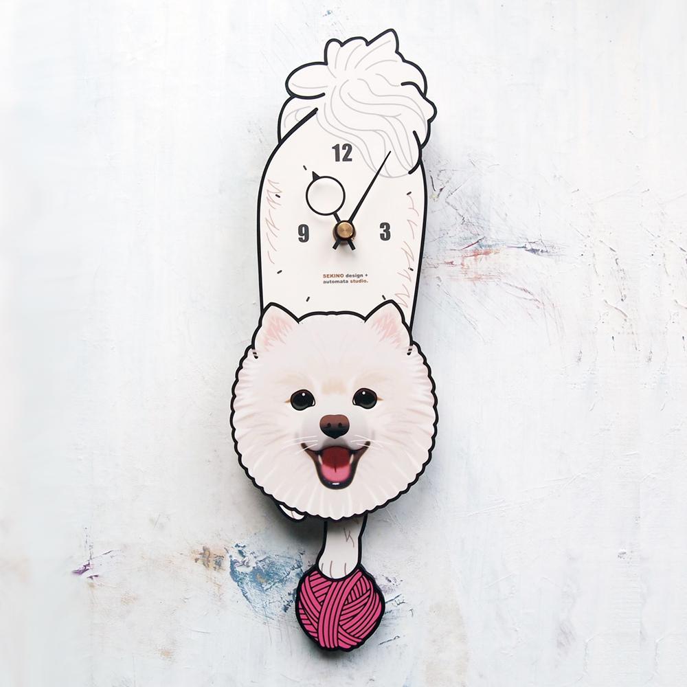 手の部分が振り子になった壁掛け用時計 ふるさと納税 ポメラニアン-犬の振り子時計 D-100 店 セール価格