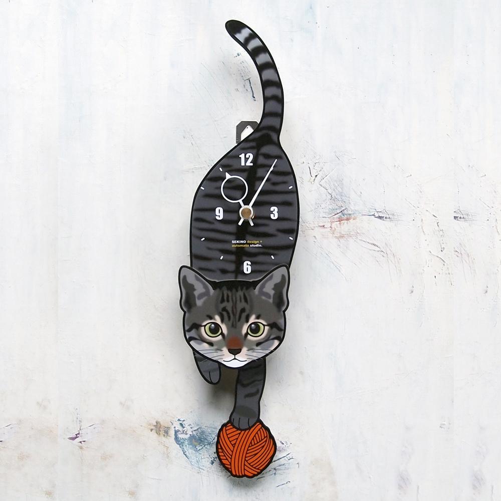 手の部分が振り子になった壁掛け用時計 ふるさと納税 セール特価 C-007 子猫 キジトラ 予約販売 -猫の振り子時計