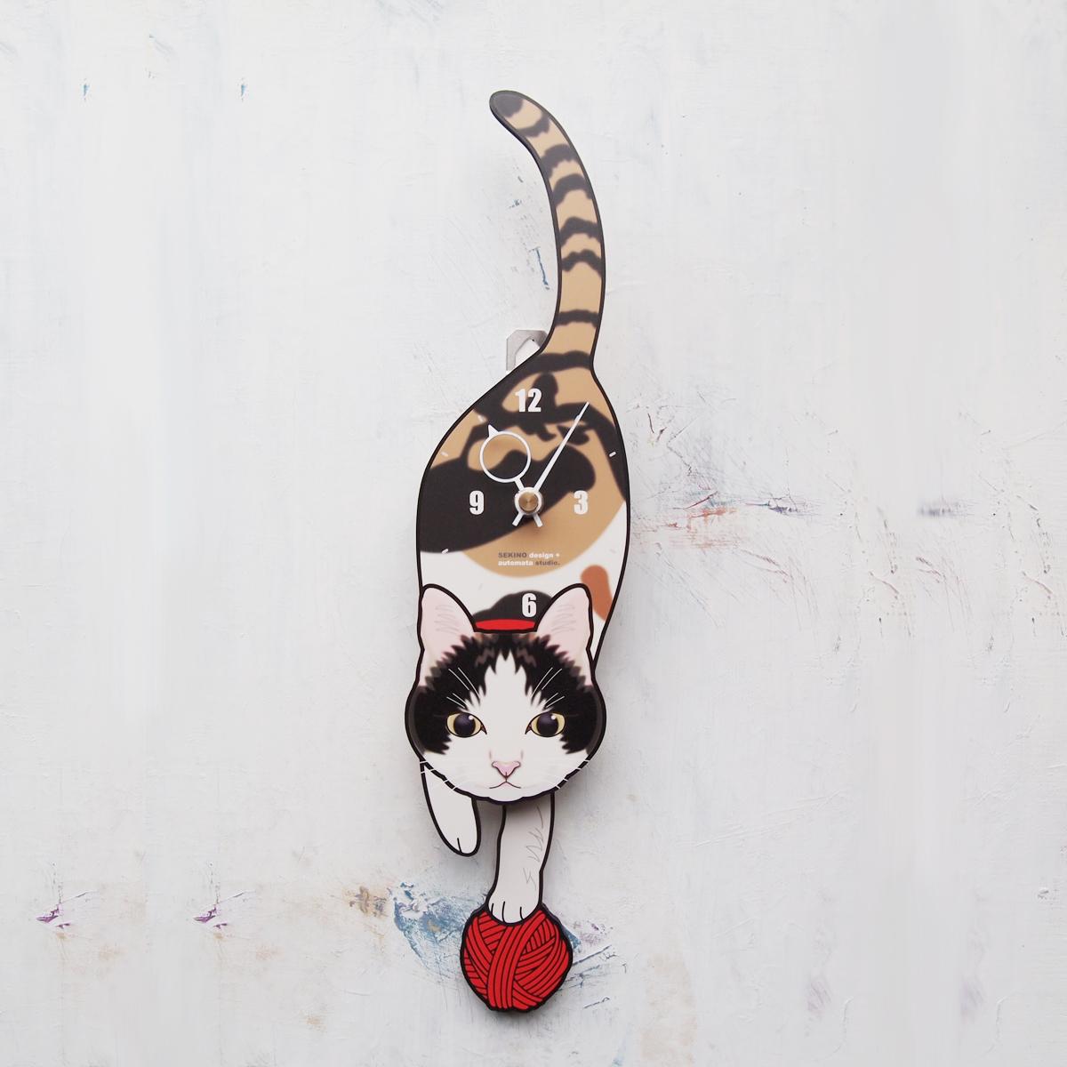 【ふるさと納税】<C-14 三毛猫-猫の振り子時計>