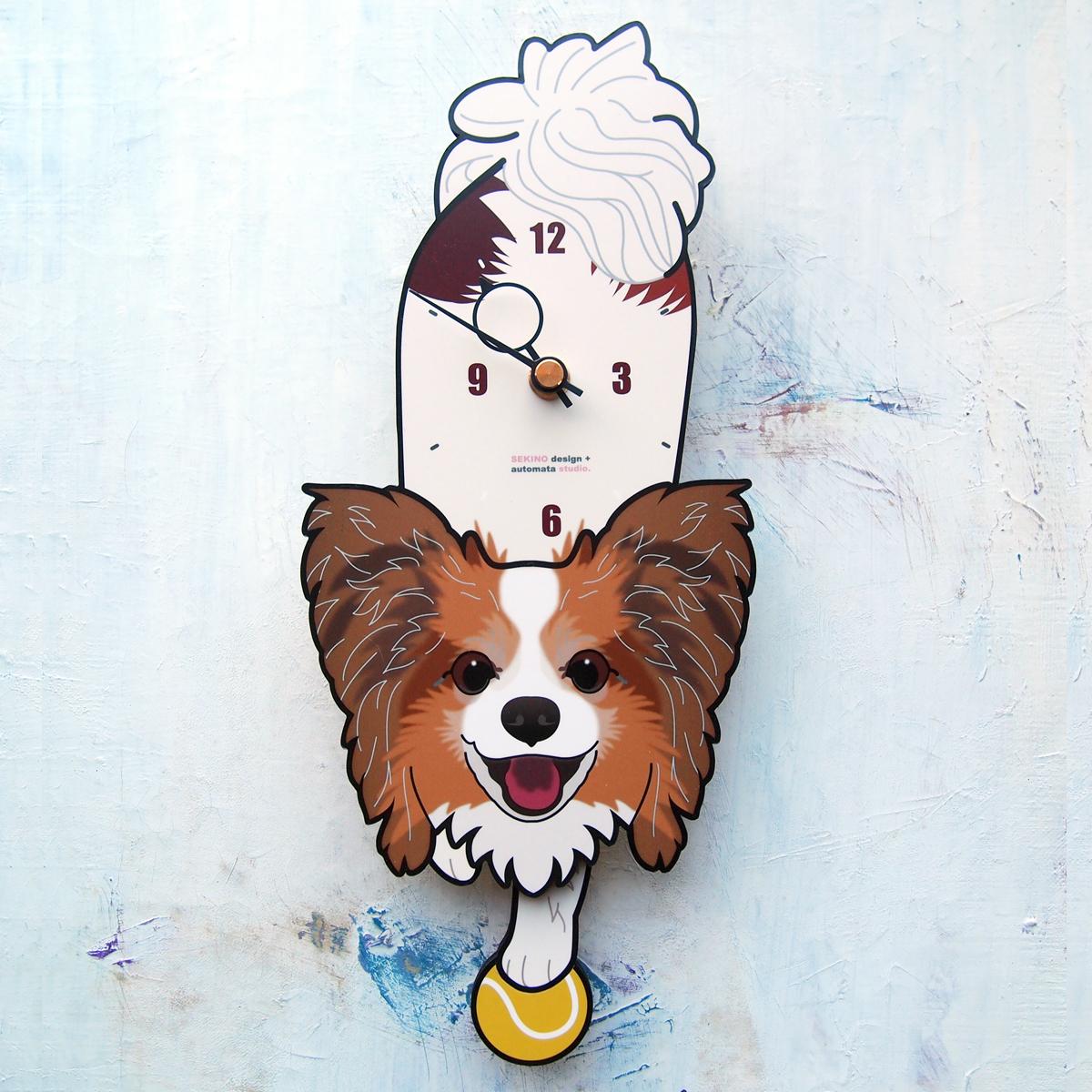 手の部分が振り子になった壁掛け用時計 ギフト ふるさと納税 パピヨン茶白-03-犬の振り子時計 海外限定 D-64-2