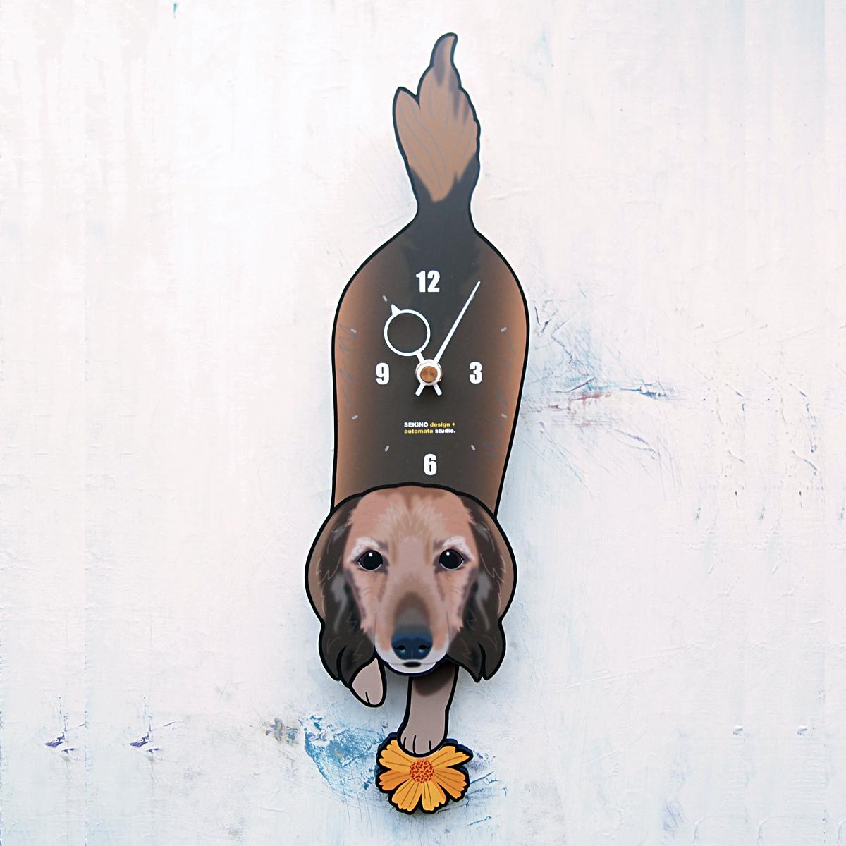 選択 手の部分が振り子になった壁掛け用時計 配送員設置送料無料 ふるさと納税 D-81 ロング ミニチュアダックス -犬の振り子時計