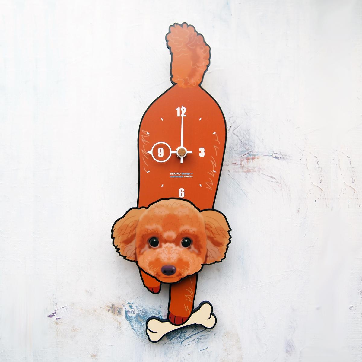 手の部分が振り子になった壁掛け用時計 ふるさと納税 お金を節約 D-139 プードル -犬の振り子時計 送料無料でお届けします レッド