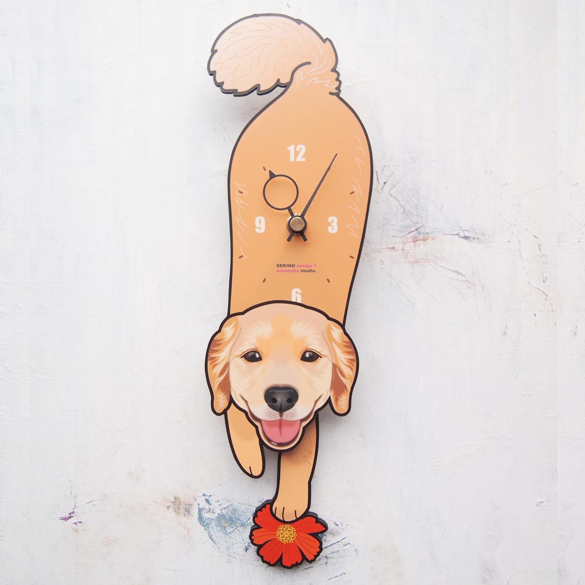 【ふるさと納税】D-111 ゴールデン ラブラドール・レトリバー-犬の振り子時計