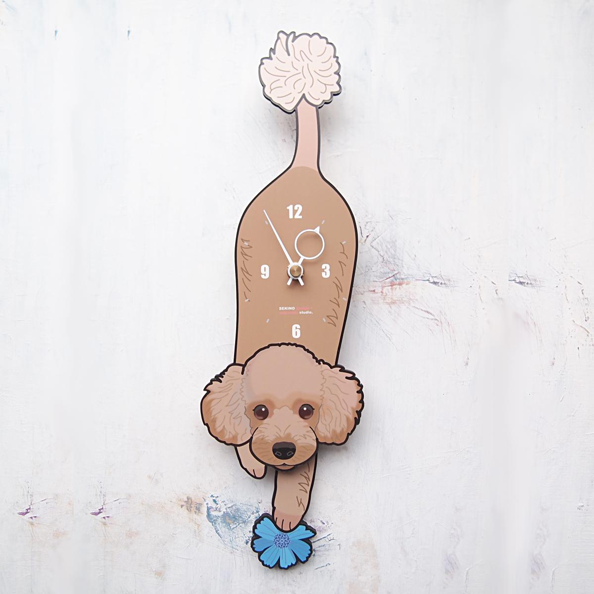 【ふるさと納税】D-117 茶プードル-犬の振り子時計