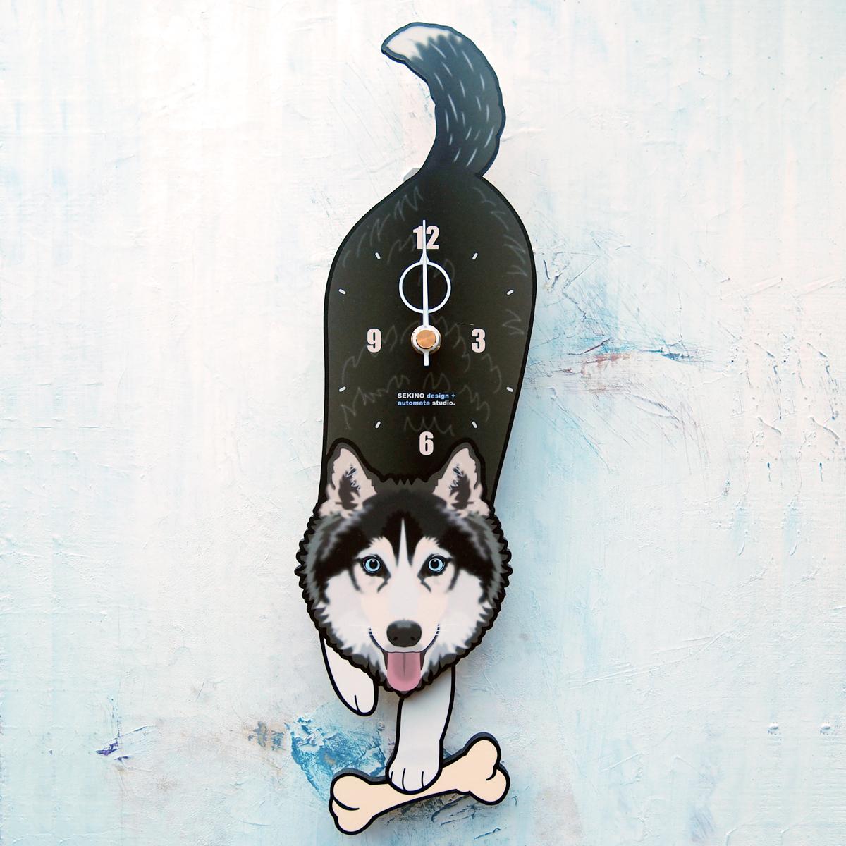 授与 手の部分が振り子になった壁掛け用時計 ふるさと納税 シベリアンハスキー-犬の振り子時計 本物◆ D-154