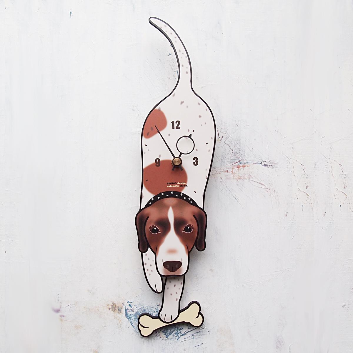 手の部分が振り子になった壁掛け用時計 ふるさと納税 D-48 1着でも送料無料 イングリッシュポインター-犬の振り子時計 プレゼント