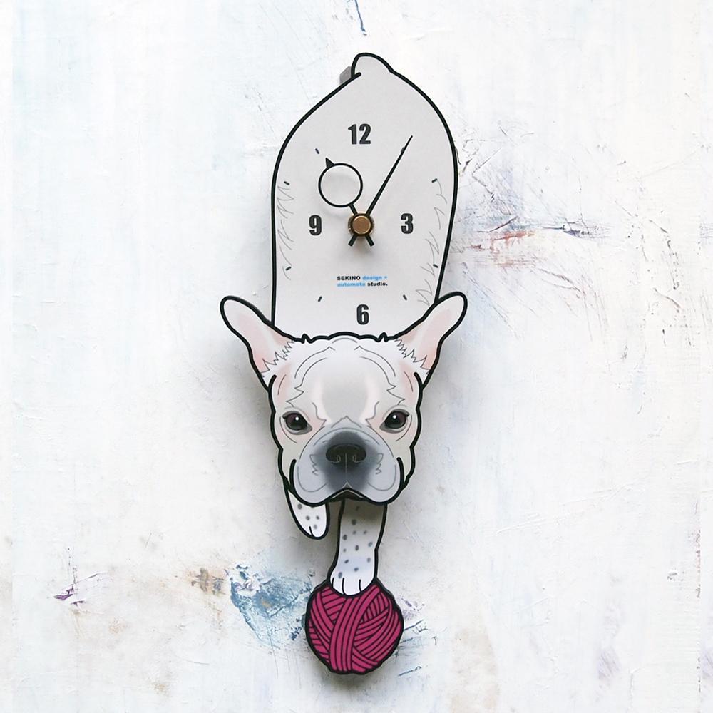 【ふるさと納税】D-58 白ブルドッグー-犬の振り子時計