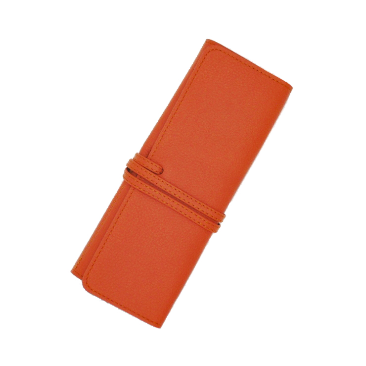 【ふるさと納税】革工房いんのしま牛革ロールペンケース(オレンジ)