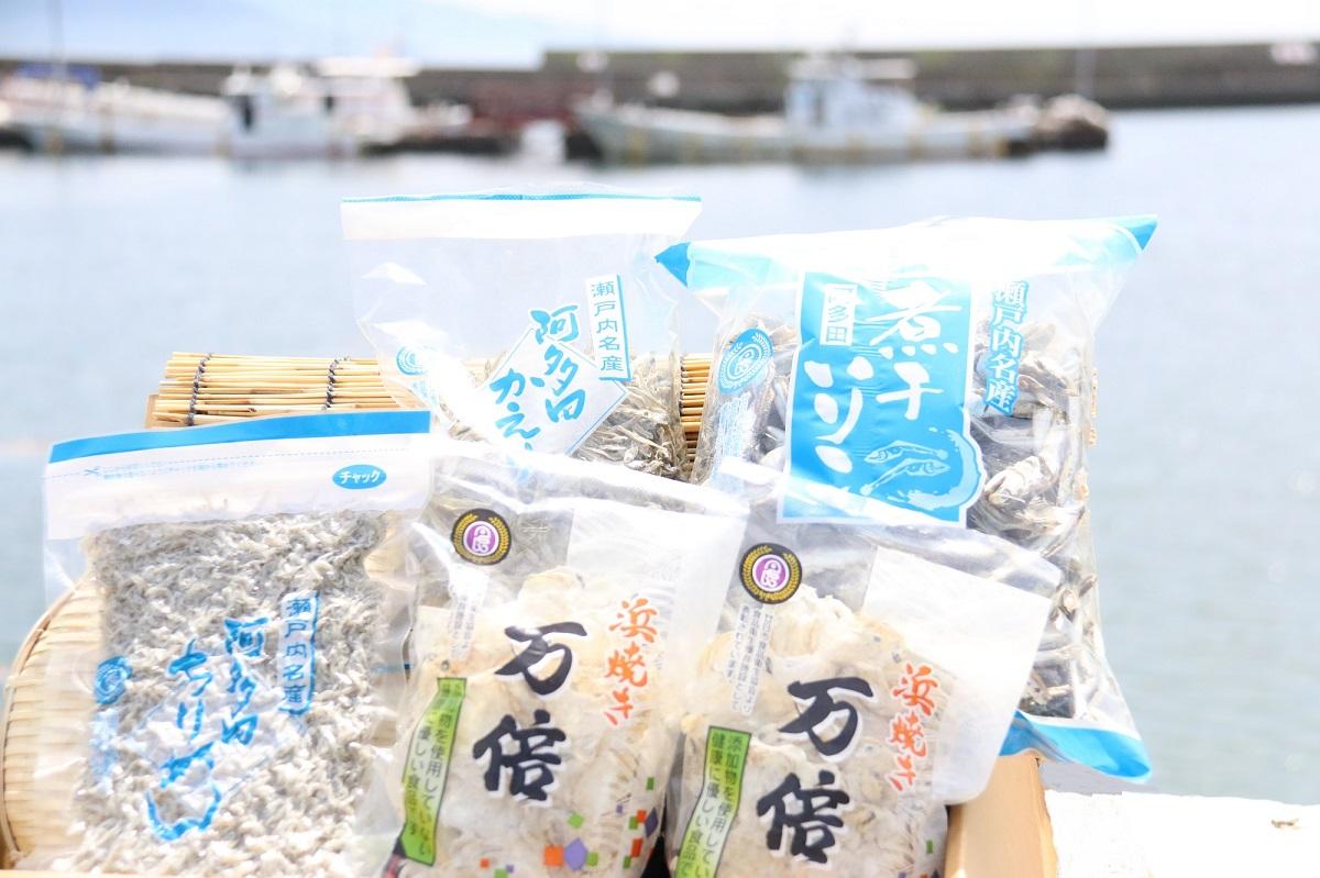 【ふるさと納税】阿多田島のいりこセット (阿多田かえり:いりこ1袋、煮干しいりこ:いりこ1袋、万倍:いわしせんべい2袋、阿多田ちりめん:ちりめん1袋)