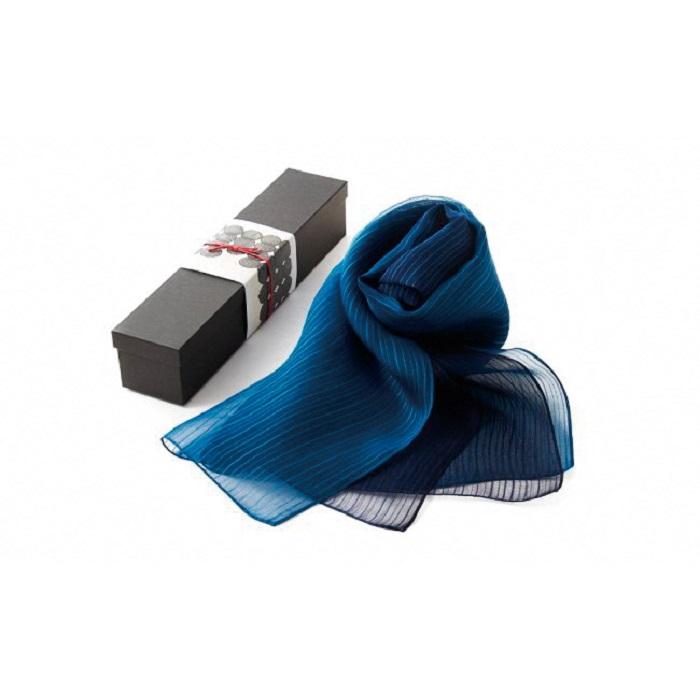 【ふるさと納税】G002a 藍染シルクスカーフ(L)グラデーション