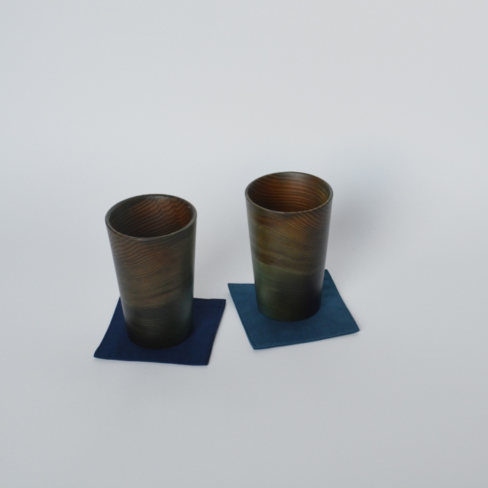 【ふるさと納税】H007a 杉の藍染コップ(藍染コースター付)