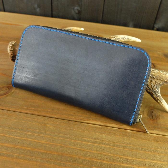 【ふるさと納税】阿波レザー「RONIN」本藍染め ラウンド縦長財布 U001a