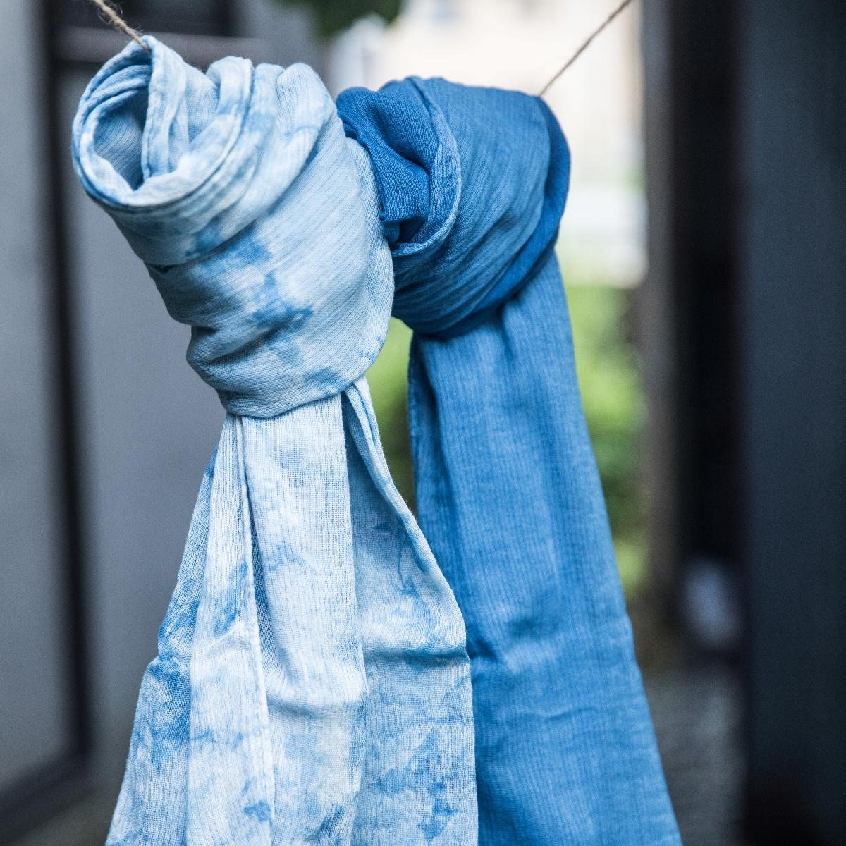 【ふるさと納税】TTS21あまべ藍シフォンストール グラデーション柄【伝統工芸】