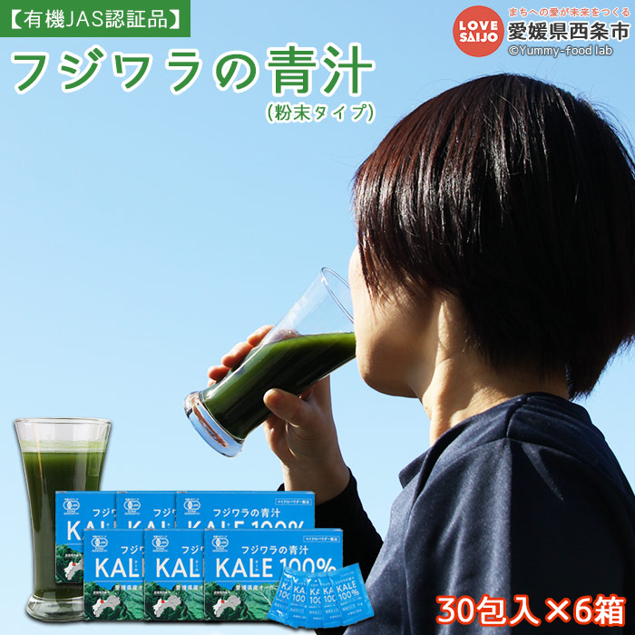 【ふるさと納税】<フジワラの青汁・粉末タイプ(30包入)×6箱> ※1か月以内に順次出荷します。 有機JAS認証品 ケール 無添加 野菜粉末 愛媛県 西条市 【常温】