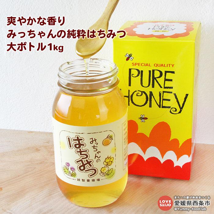 柑橘の国愛媛から爽やかで香り豊かな純粋はちみつ大きな瓶に1kg。手作業で一箱一箱丁寧に取り出した純粋なはちみつです。極力手を加えることなく、そのまま瓶詰めしました。 【ふるさと納税】<爽やかな香り みっちゃんの純粋はちみつ 大ボトル1kg> ※翌月末迄に順次出荷します。 国産 ハチミツ 蜂蜜 愛媛県 西条市 【常温】