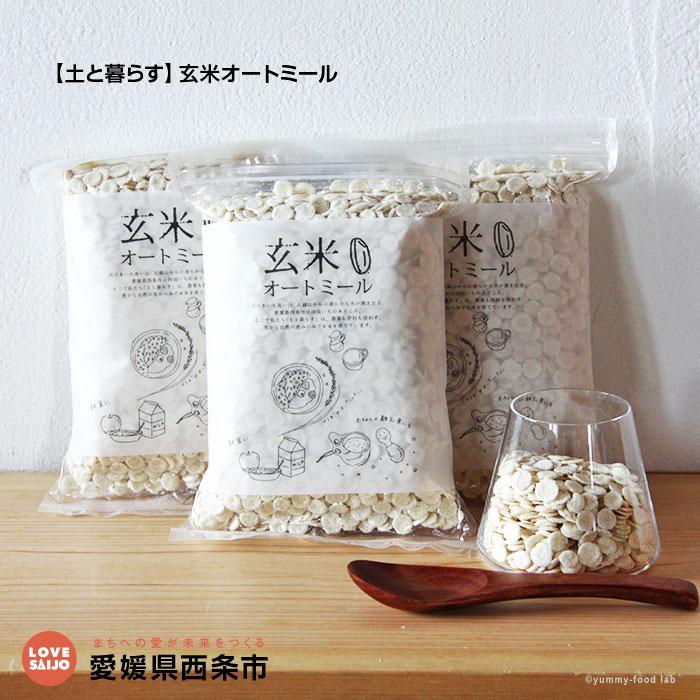 【ふるさと納税】<【土と暮らす】玄米オートミール(220g×3)> ※1か月以内に順次出荷します。 「自然栽培米玄米がまるごと食べられます!」アルファー化しているので玄米なのに消化しやすくなっていて、調理カンタン!離乳食や非常食にも! 愛媛県 西条市【常温】【JP】