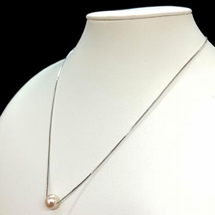 【ふるさと納税】【天白真珠】スルーネックレス(アコヤ真珠 8-8.5mm1粒) 【アクセサリー・ネックレス】