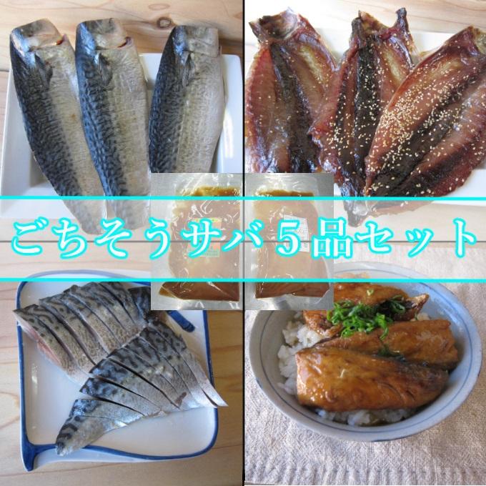 【ふるさと納税】IZ011ごちそうサバ5品セット<魚 魚介類 さば 干物 ミリン干し 漬け 酢締め 味噌煮>