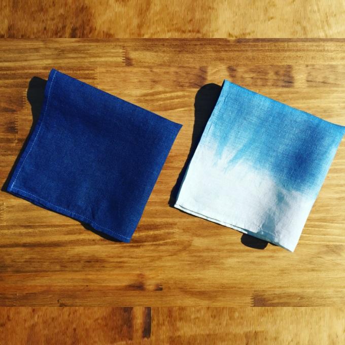 【ふるさと納税】AI001室戸オーガニック藍で染めた100%リネンハンカチ2枚セット