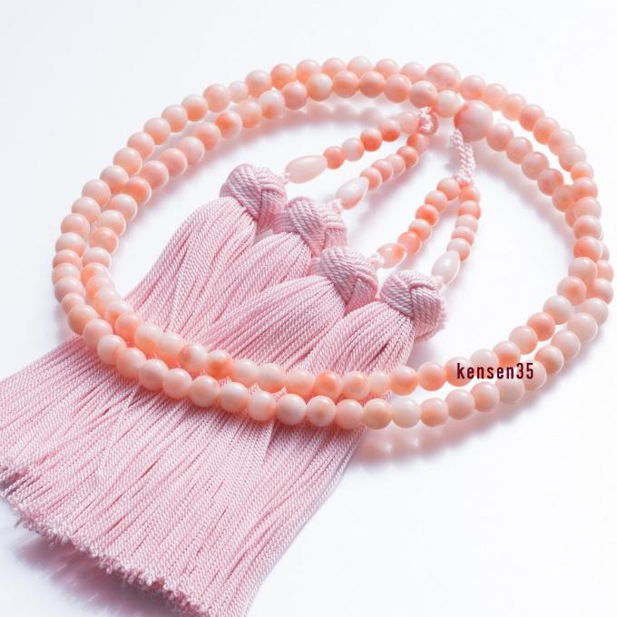 【ふるさと納税】KN034【宝石サンゴ】ピンク珊瑚本連数珠