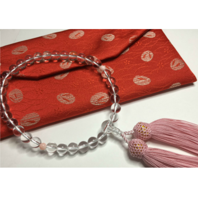 【ふるさと納税】KN017水晶とピンク珊瑚の数珠