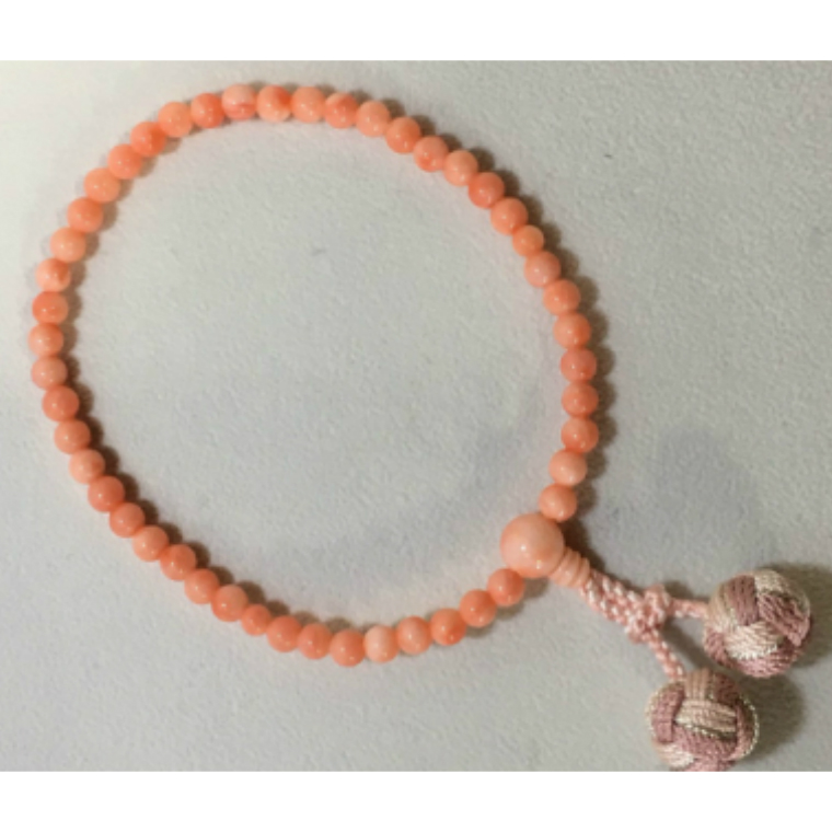 【ふるさと納税】KN019子供用 ピンク珊瑚の片手数珠(女の子用)