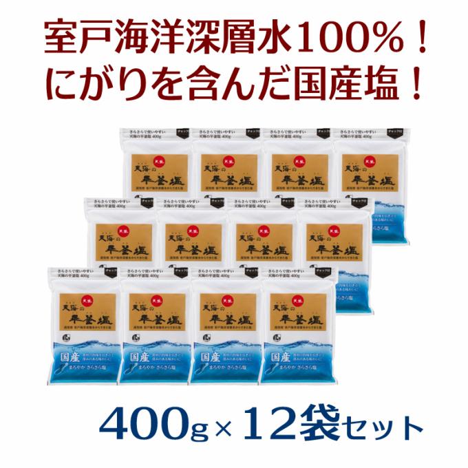 【ふるさと納税】天海(あまみ)の平釜塩400g×12袋セット!<AK009>