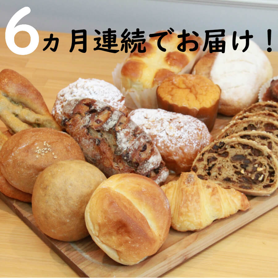 【ふるさと納税】パン 定期便 送料無料 セット 約6~10個×6か月国産小麦とバターを使った パンいろいろ詰合せ6回 G-7