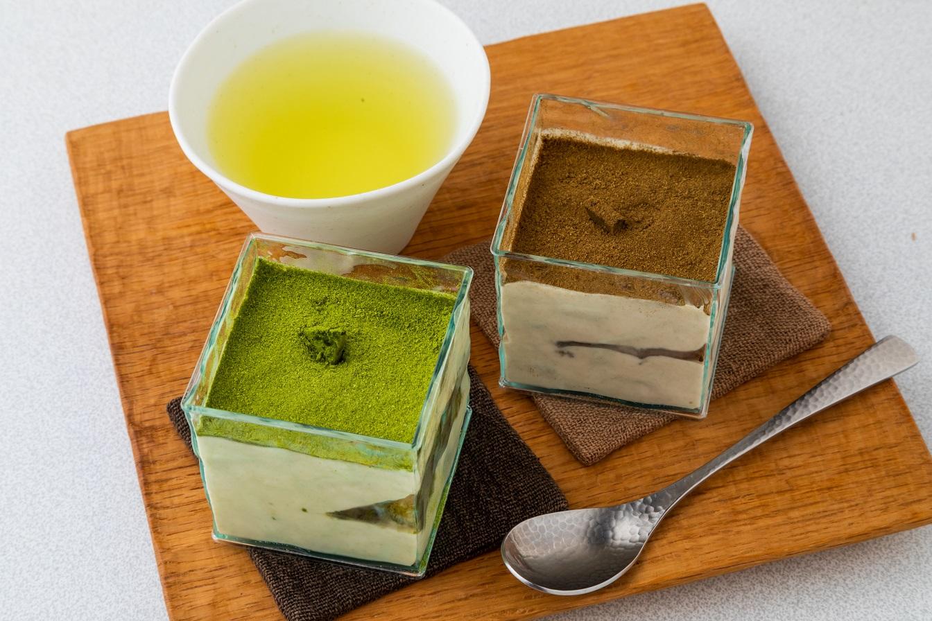 茶農家の女性たちが 厳選茶葉を使って全て手作りした高級スイーツ ふるさと納税 B4-2 ショッピング 茶畑ティラミス ほうじ茶3個 定番キャンバス かぶせ茶3個 2種