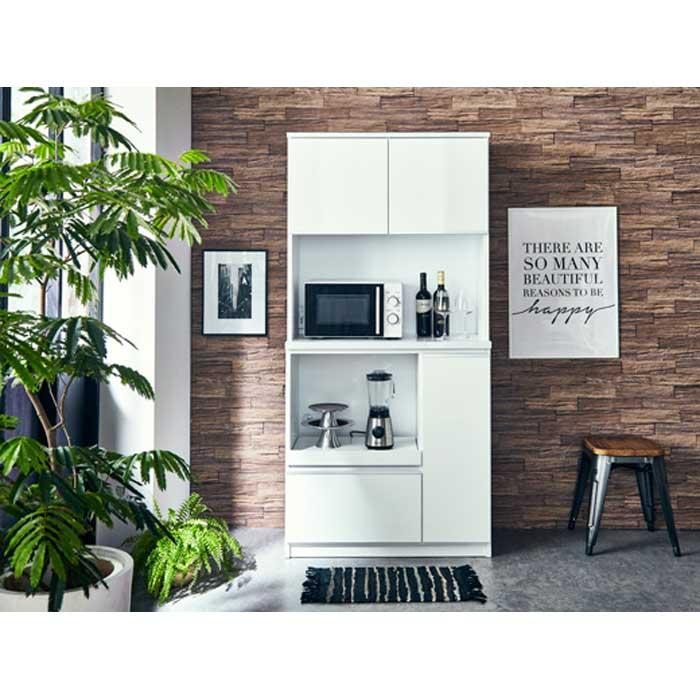 【ふるさと納税】【開梱設置】食器棚 レンジ台 幅88.8cm ナポリ 鏡面ホワイト キッチンボード 幅90 家具