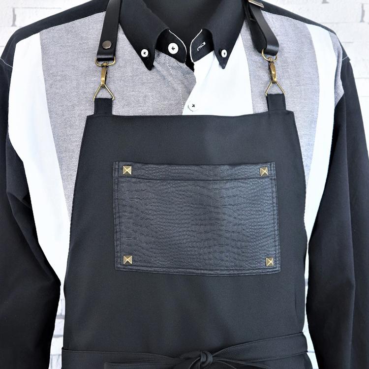 【ふるさと納税】ラブリーグレイス 皮風ポケット黒エプロン