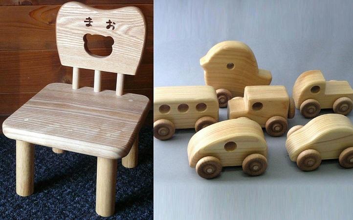 【ふるさと納税】A992 手作り木工 名前が入る子ども椅子