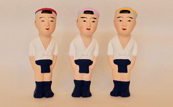【ふるさと納税】津屋崎人形 山笠ごん太3体セット 【工芸品・装飾品/民芸品・工芸品/人形】