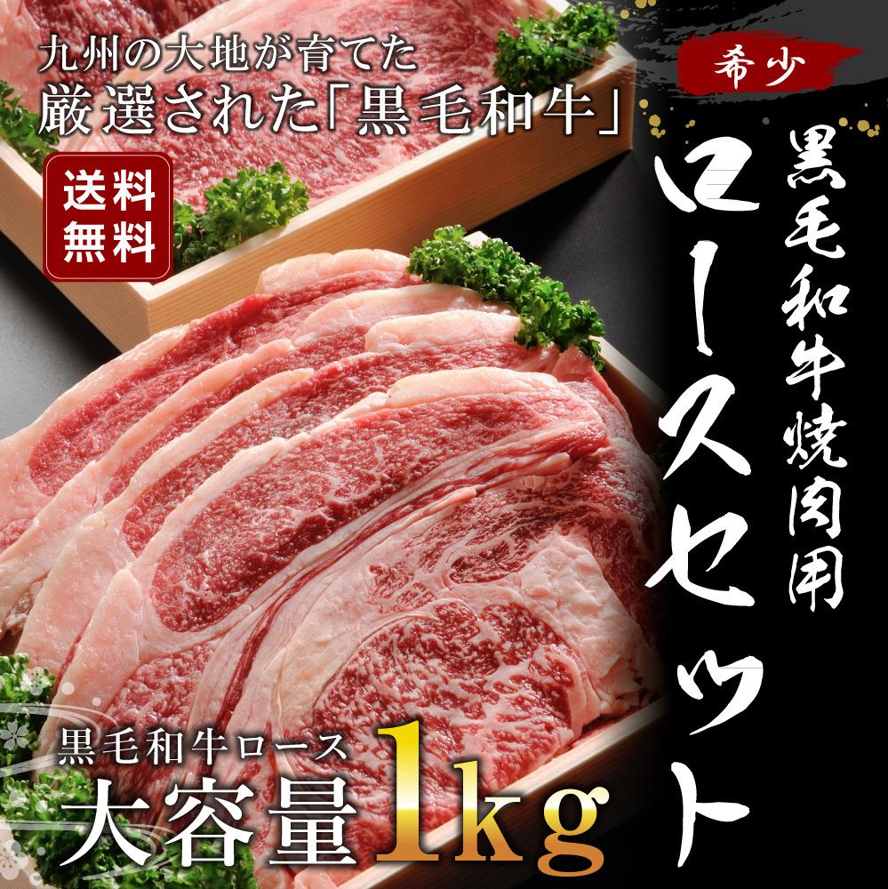 【ふるさと納税】国産 黒毛和牛 焼肉用 ロースセット 1kg 送料無料 和牛 牛 精肉