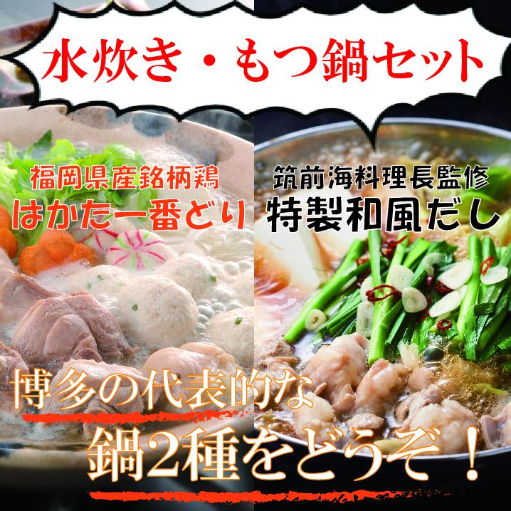 【ふるさと納税】B124.【はかた一番どり】水炊き・もつ鍋セット